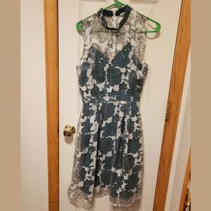 Dark green & floral sheer layered midi dress